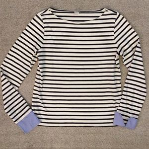 Striped boatneck top with chambray cuffs J.Crew